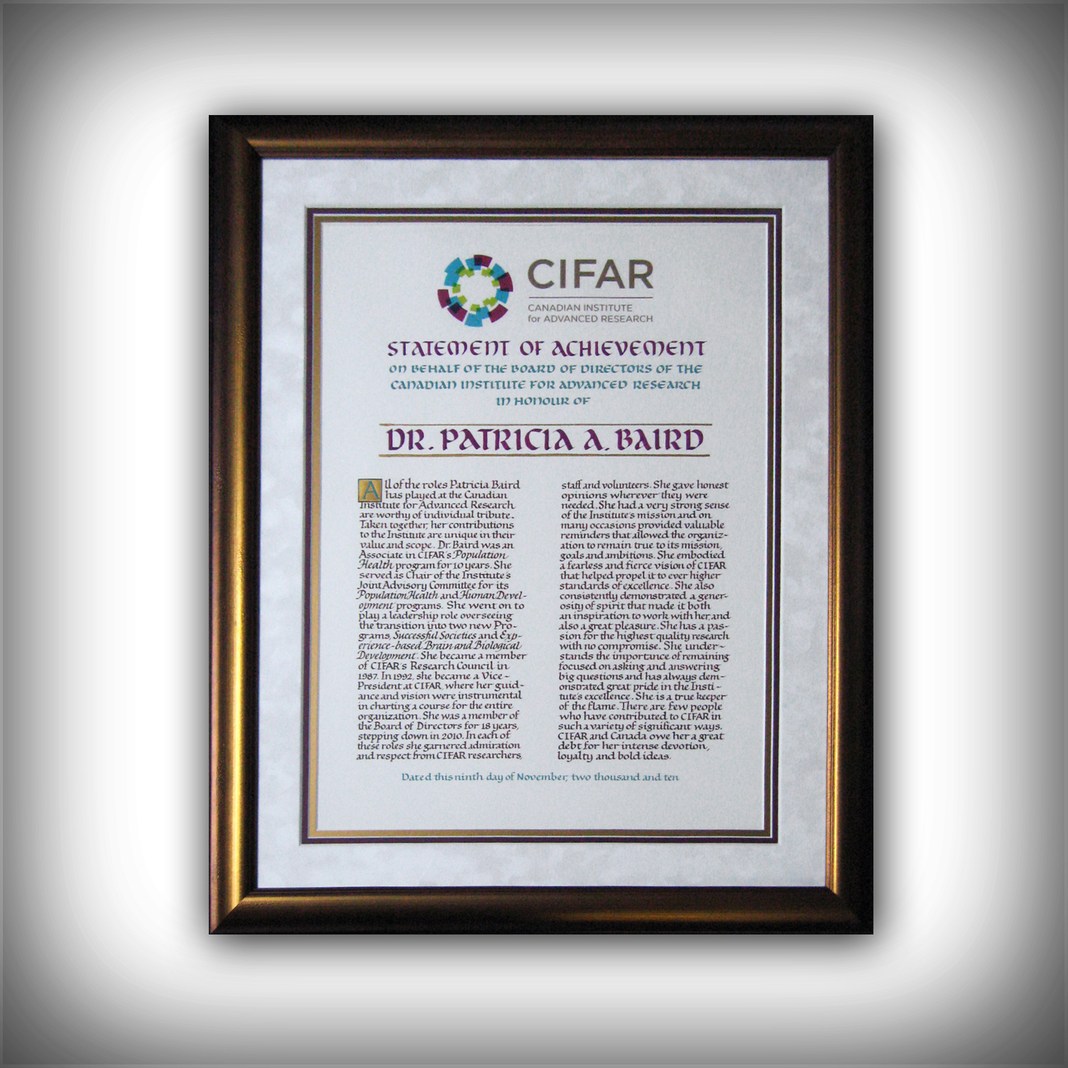 Custom Framing - Awards by Presidential